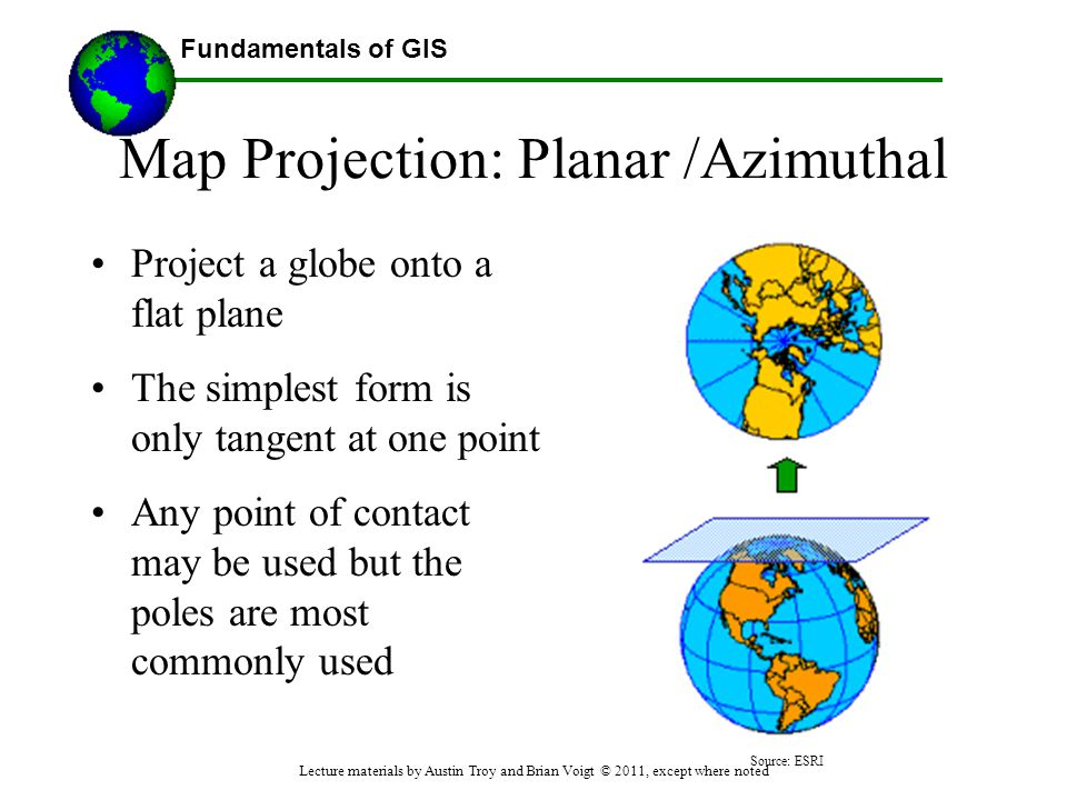 Fundamentals of GIS Map Projection: Planar /Azimuthal Project a globe onto a flat plane The simplest form is only tangent at one point Any point of co