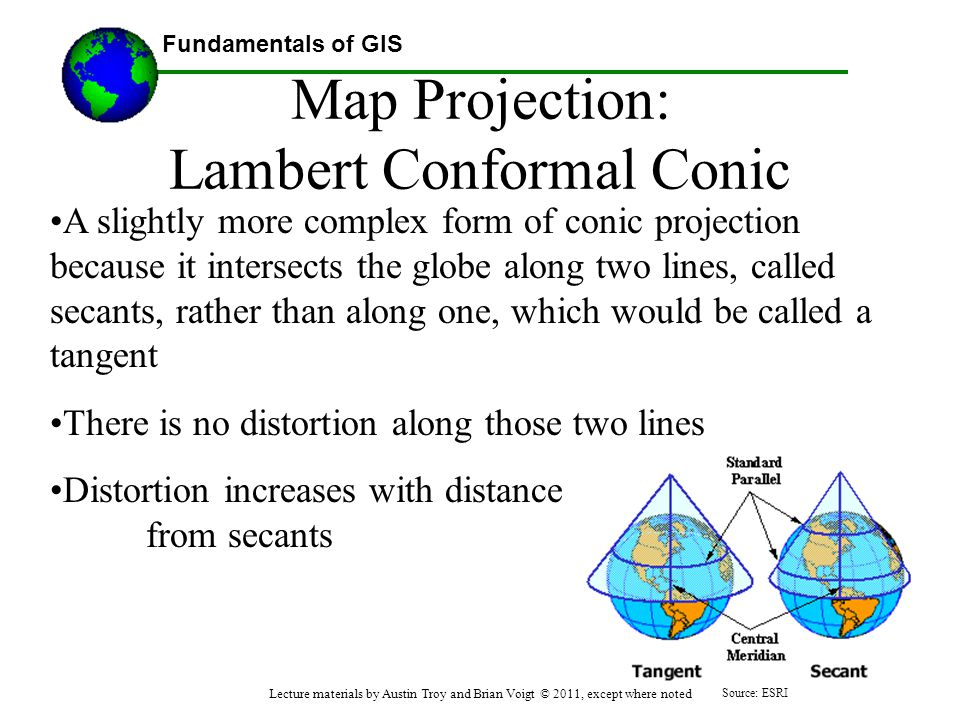 Fundamentals of GIS Map Projection: Lambert Conformal Conic A slightly more complex form of conic projection because it intersects the globe along two