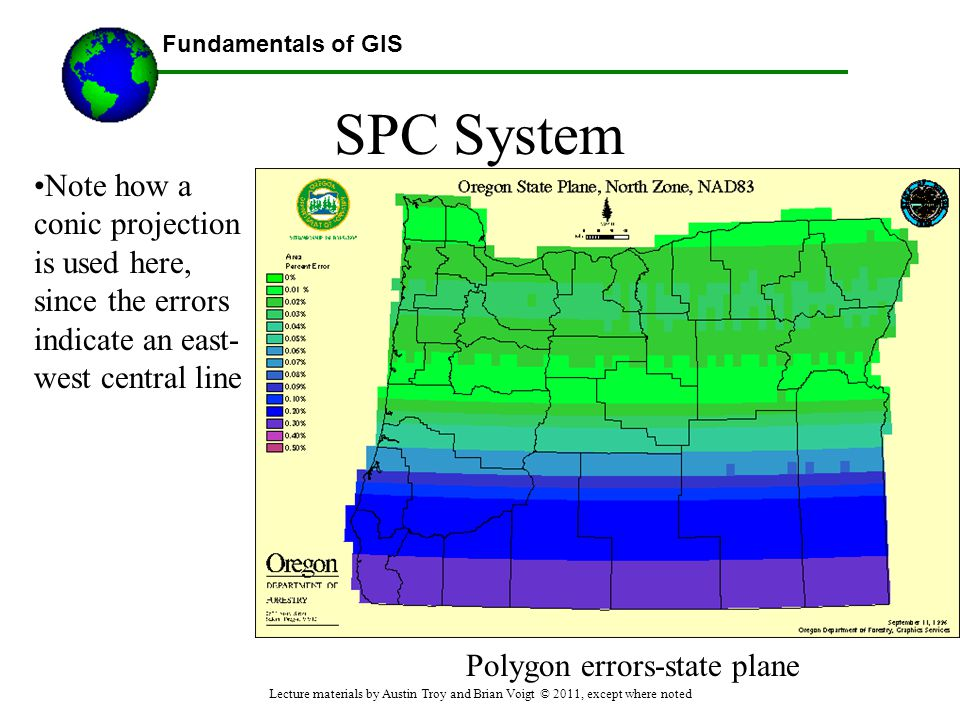 Fundamentals of GIS SPC System Note how a conic projection is used here, since the errors indicate an east- west central line Polygon errors-state pla
