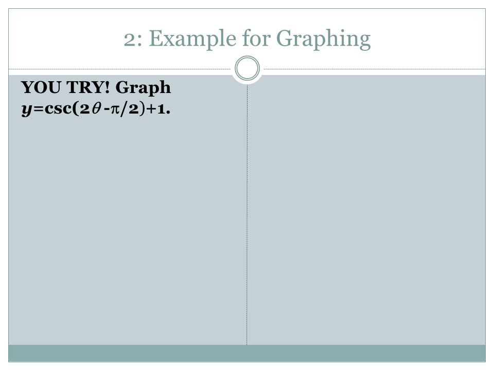 2: Example for Graphing YOU TRY! Graph y=csc(2  -  /2)+1.