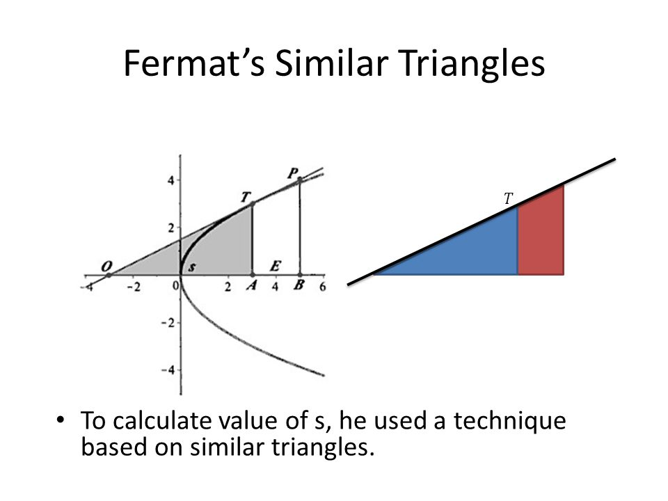 Fermat's Similar Triangles To calculate value of s, he used a technique based on similar triangles.