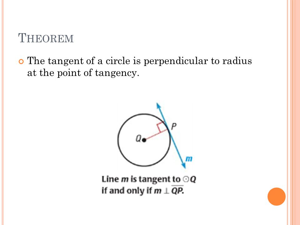 T HEOREM The tangent of a circle is perpendicular to radius at the point of tangency.