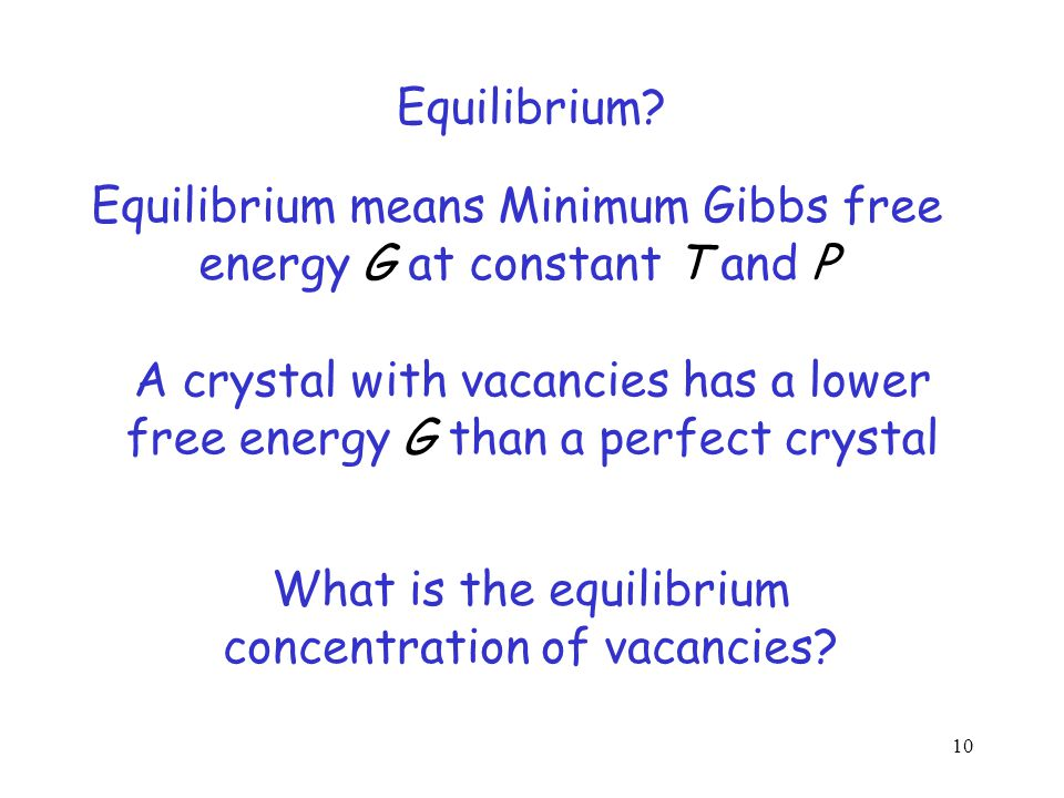 There may be some vacant sites in a crystal Surprising Fact There must be a certain fraction of vacant sites in a crystal in equilibrium.