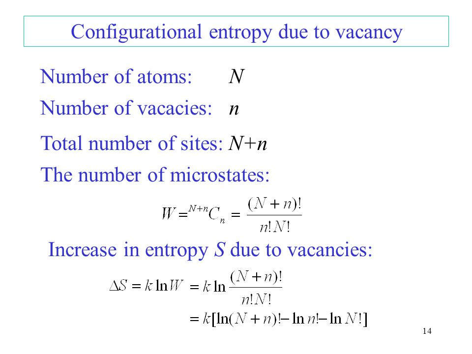 Vacancy increases S of the crystal due to configurational entropy 13