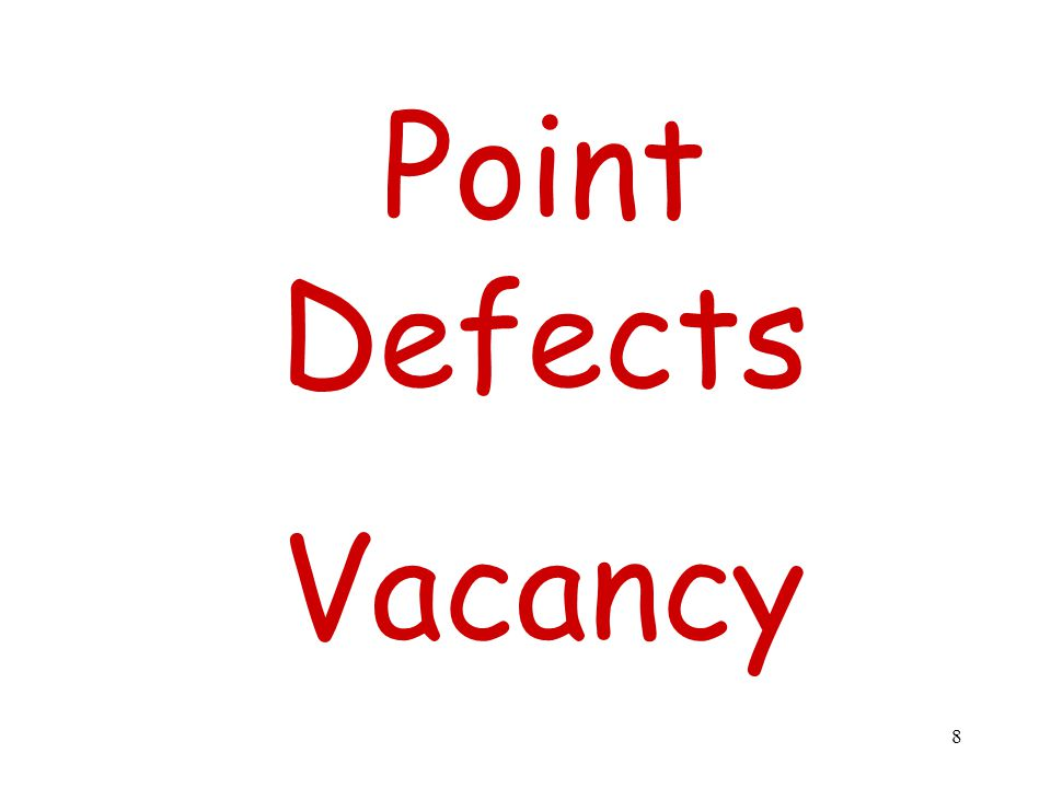 Point Defects Vacancy 8