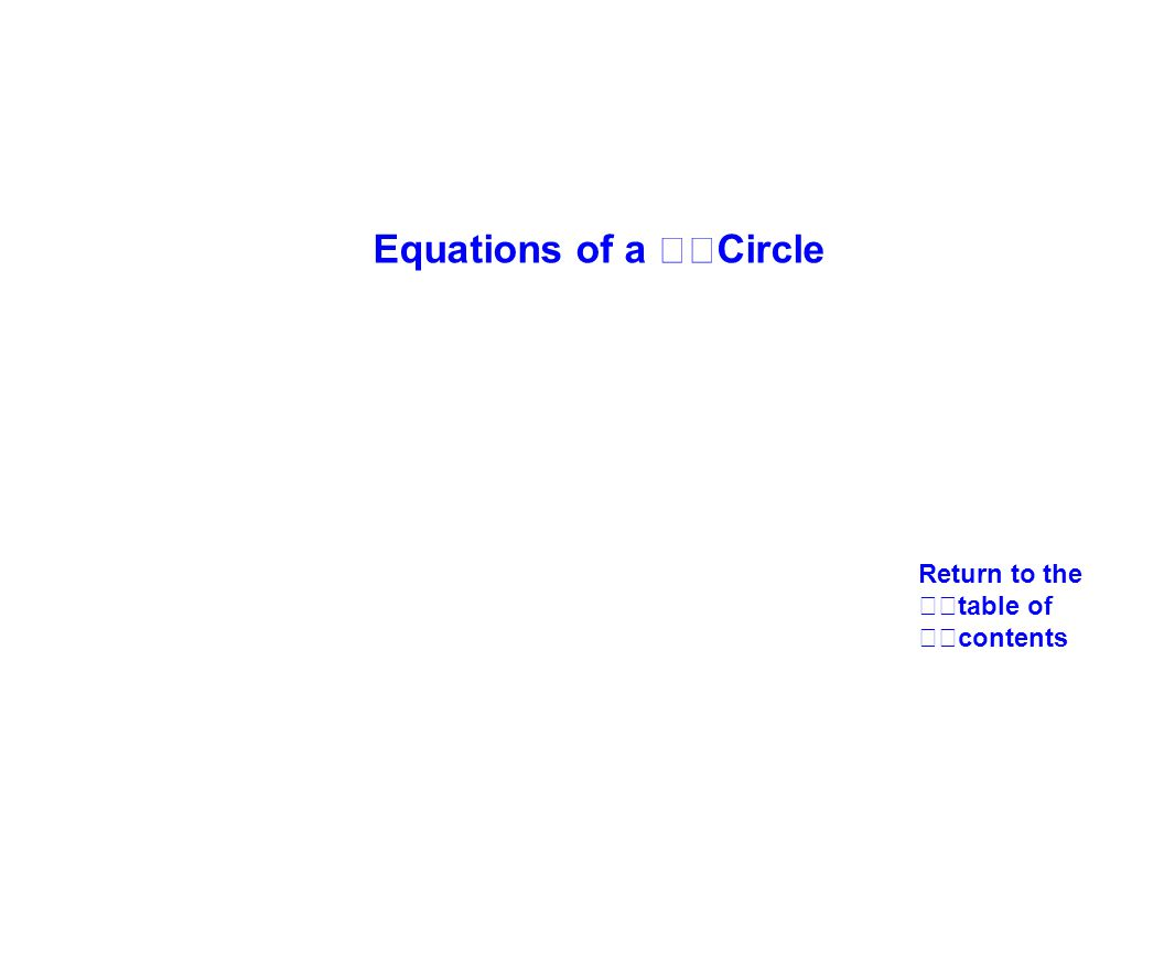 Equations of a Circle Return to the table of contents