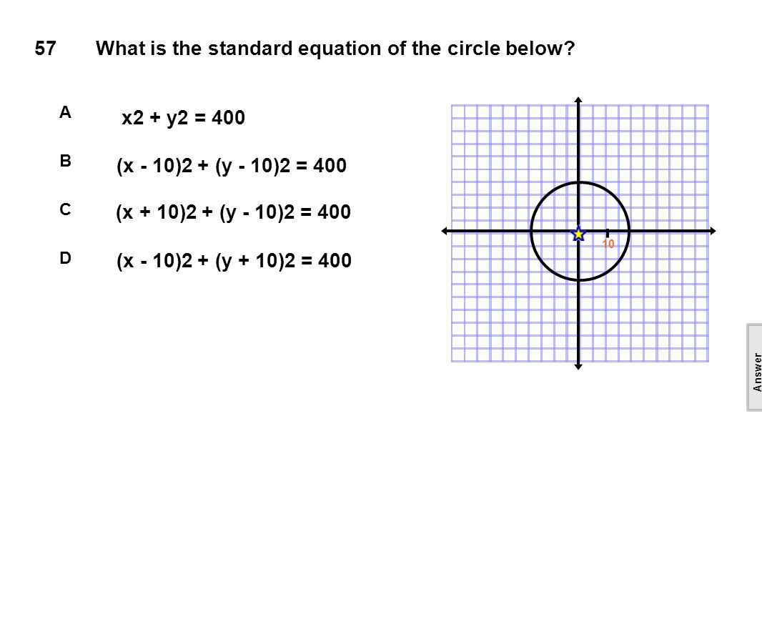 57What is the standard equation of the circle below.