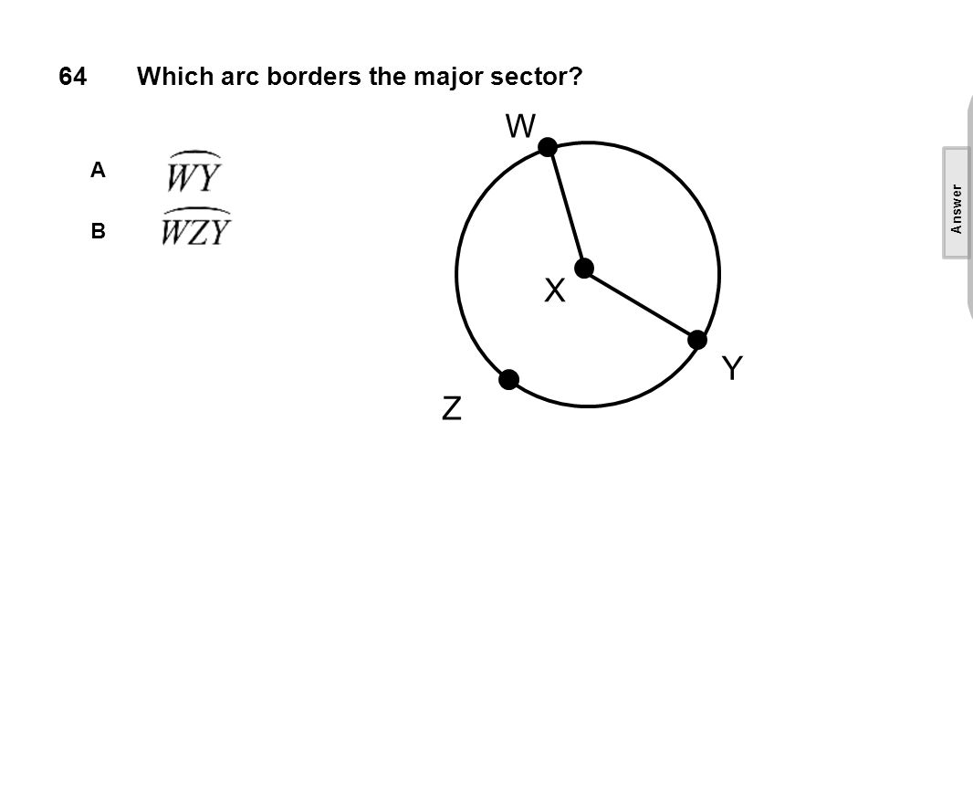 64Which arc borders the major sector A B W X Y Z [This object is a pull tab] Answer B