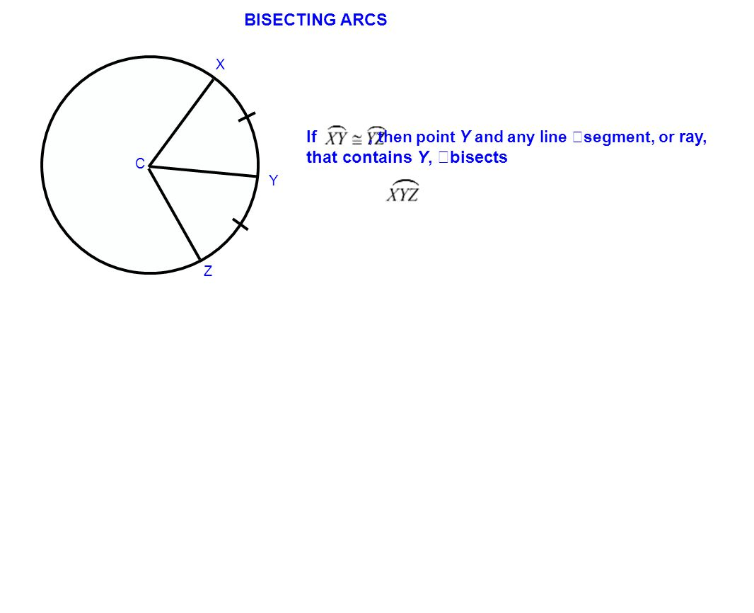 If, then point Y and any line segment, or ray, that contains Y, bisects BISECTING ARCS C X Z Y
