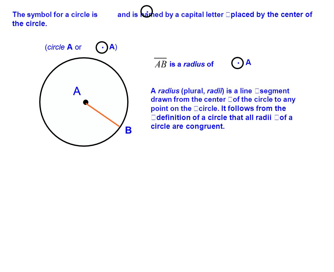 The symbol for a circle is and is named by a capital letter placed by the center of the circle..