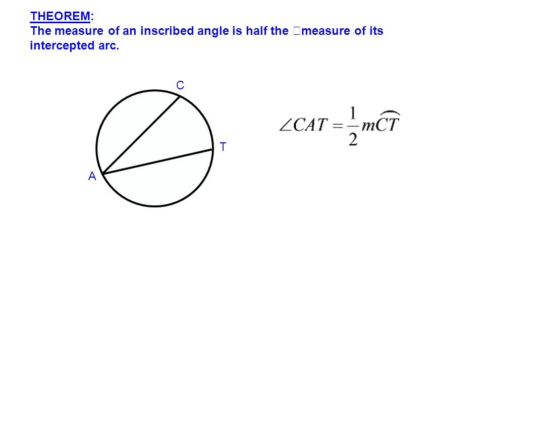 THEOREM: The measure of an inscribed angle is half the measure of its intercepted arc. C A T