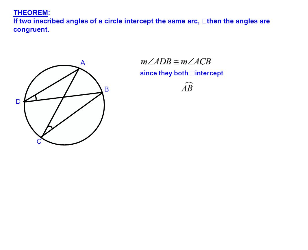 THEOREM: If two inscribed angles of a circle intercept the same arc, then the angles are congruent.