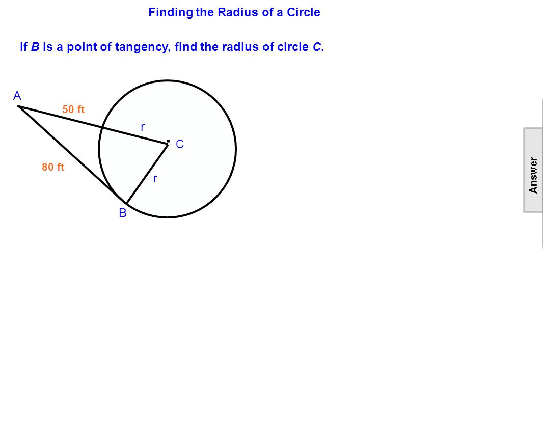 Finding the Radius of a Circle.