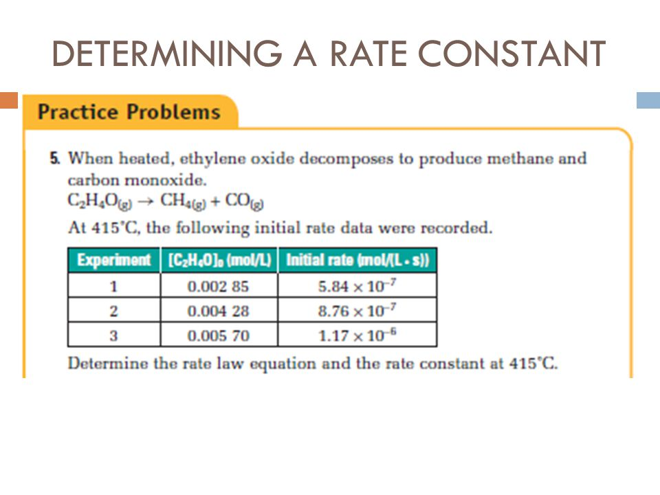 DETERMINING A RATE CONSTANT
