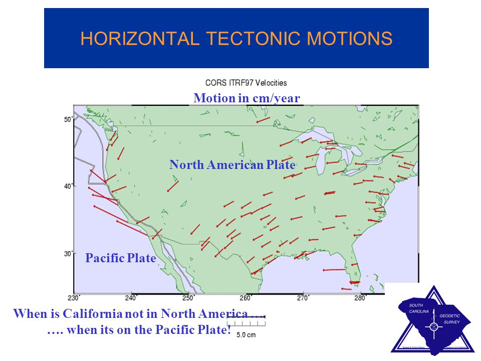 HORIZONTAL TECTONIC MOTIONS Pacific Plate North American Plate Motion in cm/year When is California not in North America … …. when its on the Pacific