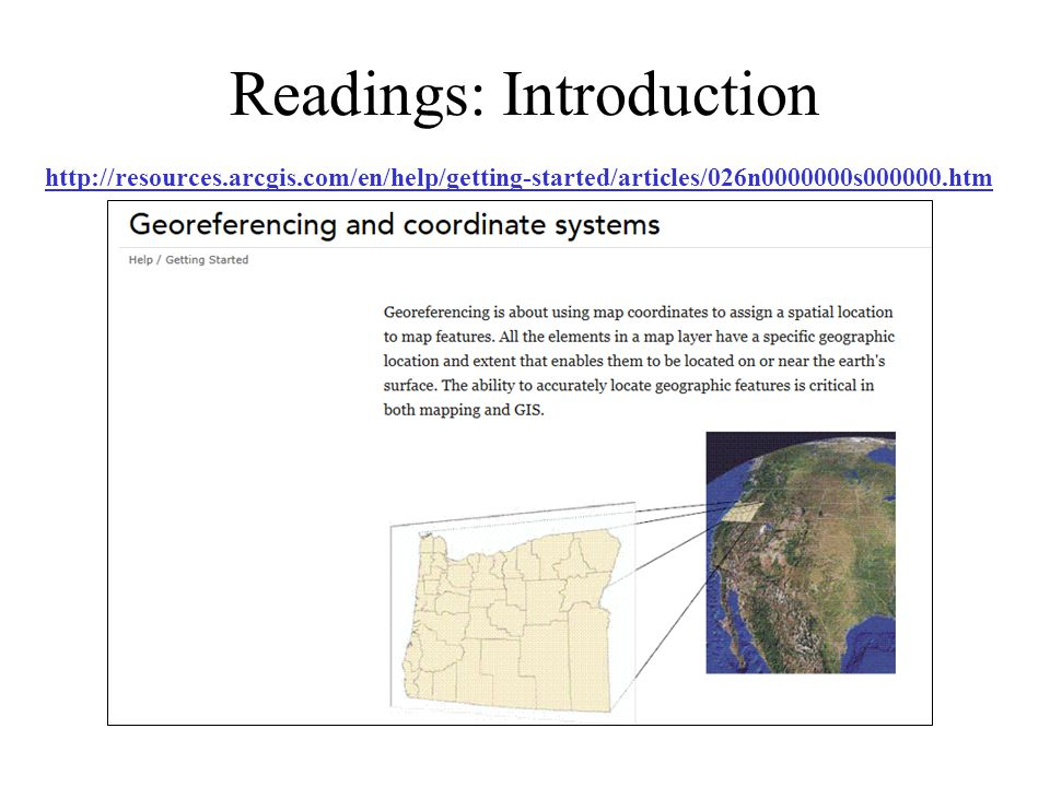 Readings: Introduction http://resources.arcgis.com/en/help/getting-started/articles/026n0000000s000000.htm