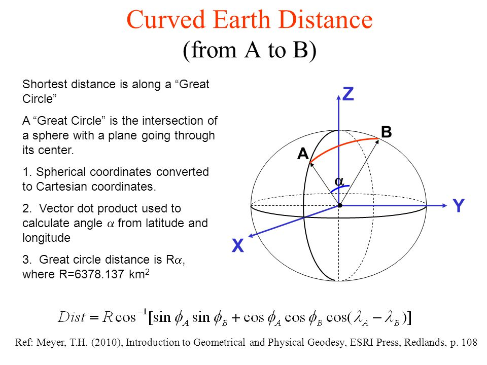 """Curved Earth Distance (from A to B) Shortest distance is along a """"Great Circle"""" A """"Great Circle"""" is the intersection of a sphere with a plane going th"""