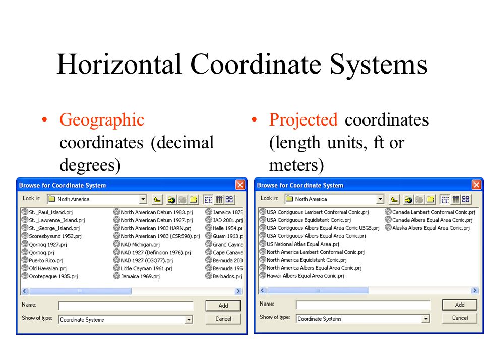 Horizontal Coordinate Systems Geographic coordinates (decimal degrees) Projected coordinates (length units, ft or meters)