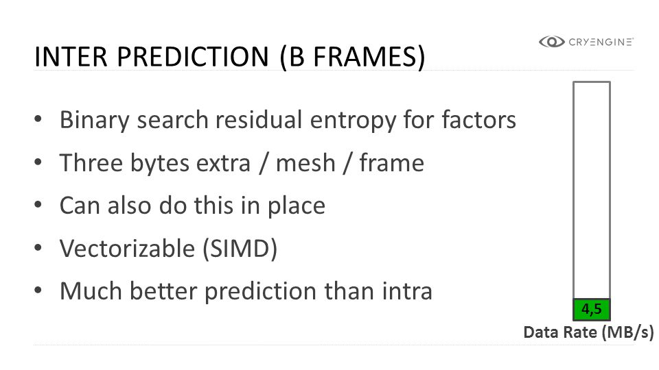 CRYENGINE Binary search residual entropy for factors Three bytes extra / mesh / frame Can also do this in place Vectorizable (SIMD) Much better predic