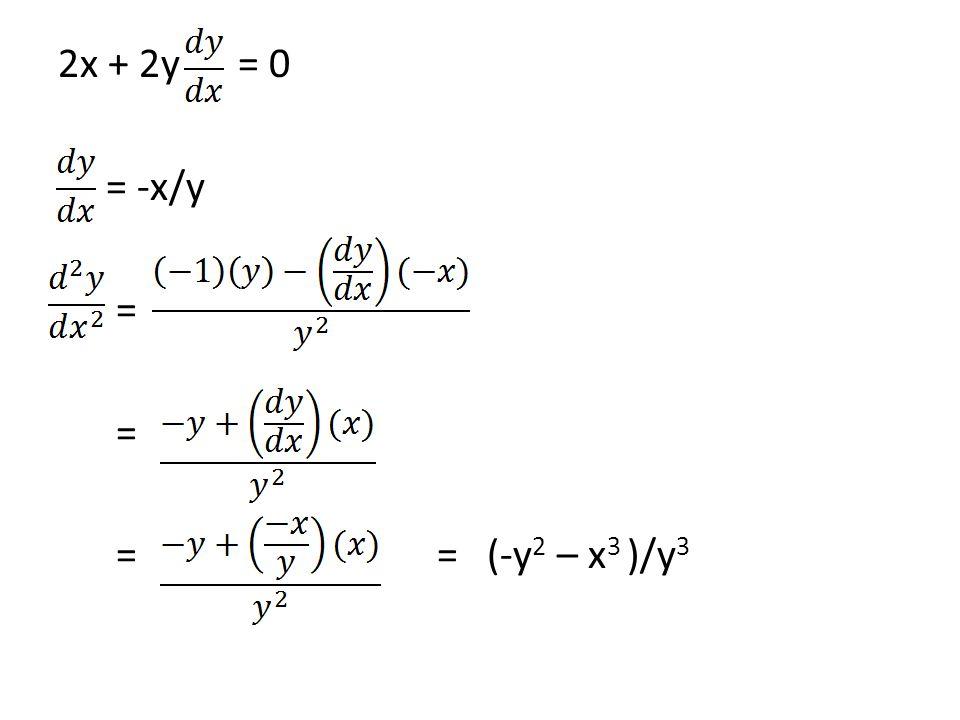 2x + 2y = 0 = -x/y = = = (-y 2 – x 3 )/y 3