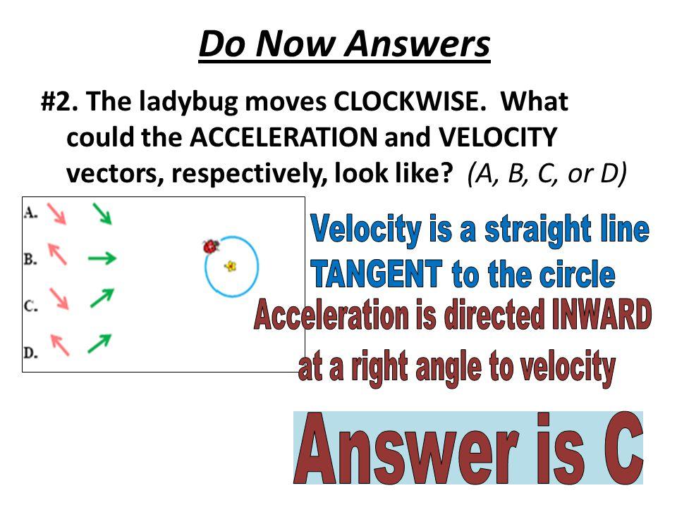 Do Now Answers #2. The ladybug moves CLOCKWISE.