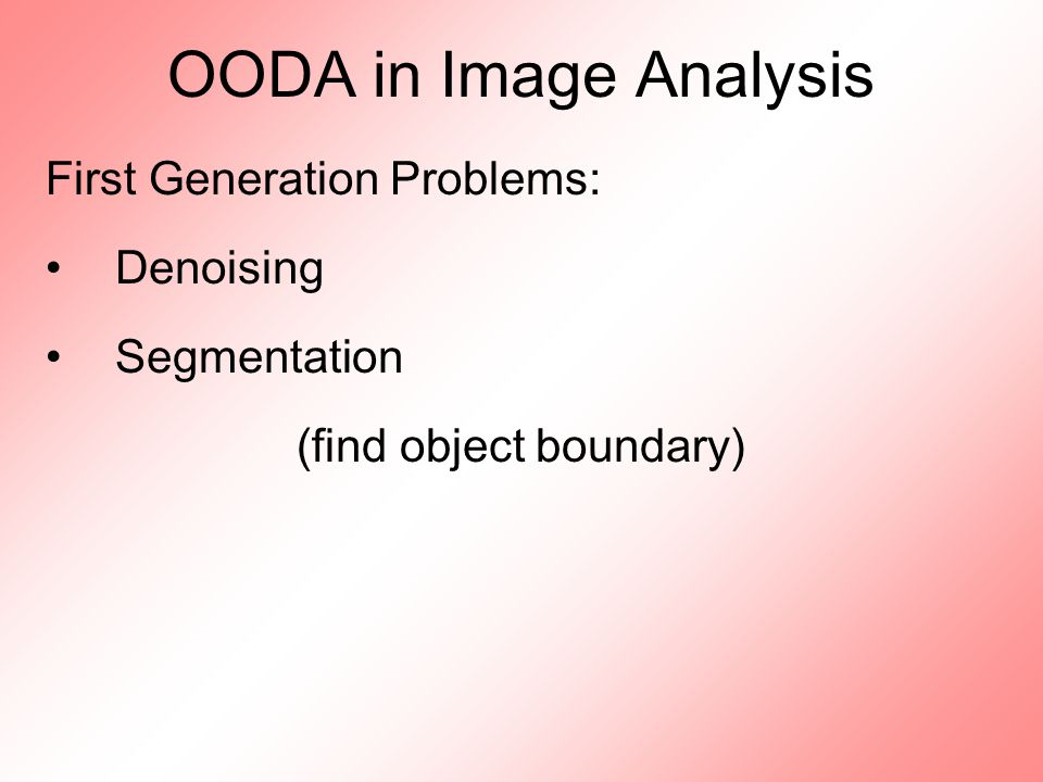 OODA in Image Analysis First Generation Problems: Denoising Segmentation (find object boundary)
