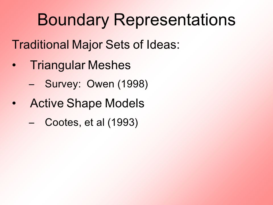 Boundary Representations Traditional Major Sets of Ideas: Triangular Meshes –Survey: Owen (1998) Active Shape Models –Cootes, et al (1993)
