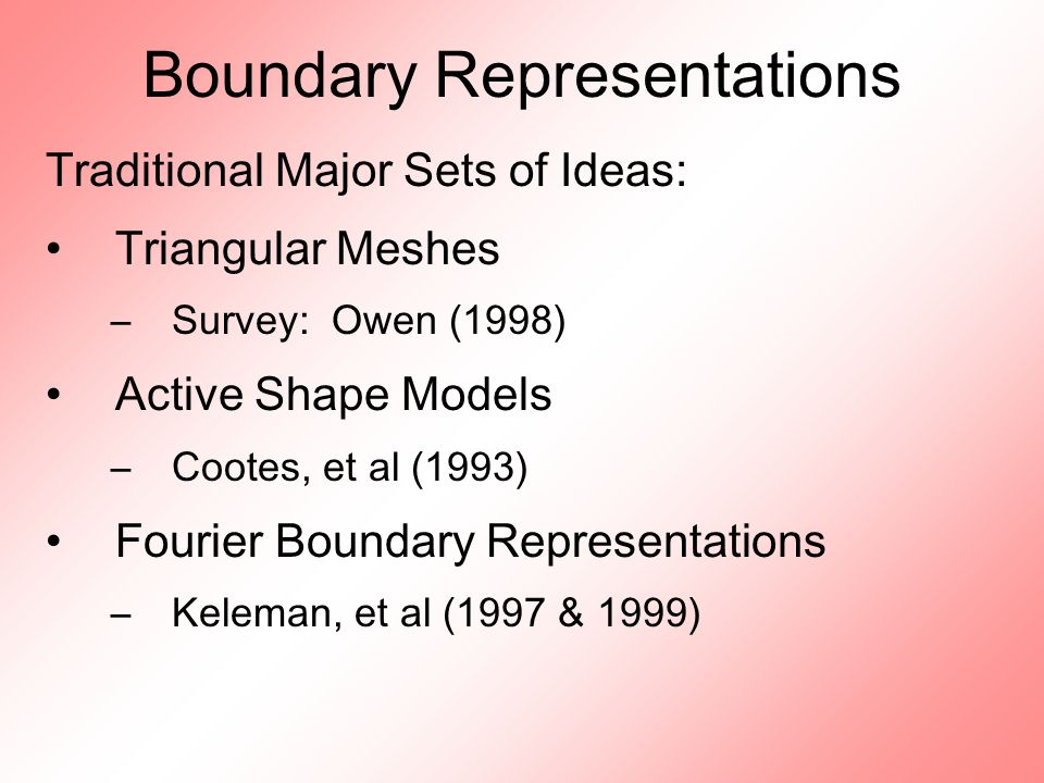 Boundary Representations Traditional Major Sets of Ideas: Triangular Meshes –Survey: Owen (1998) Active Shape Models –Cootes, et al (1993) Fourier Boundary Representations –Keleman, et al (1997 & 1999)