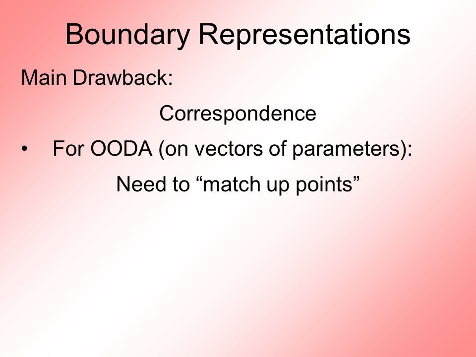 Boundary Representations Main Drawback: Correspondence For OODA (on vectors of parameters): Need to match up points