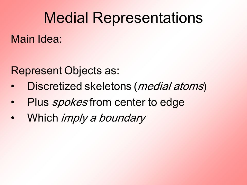 Medial Representations Main Idea: Represent Objects as: Discretized skeletons (medial atoms) Plus spokes from center to edge Which imply a boundary