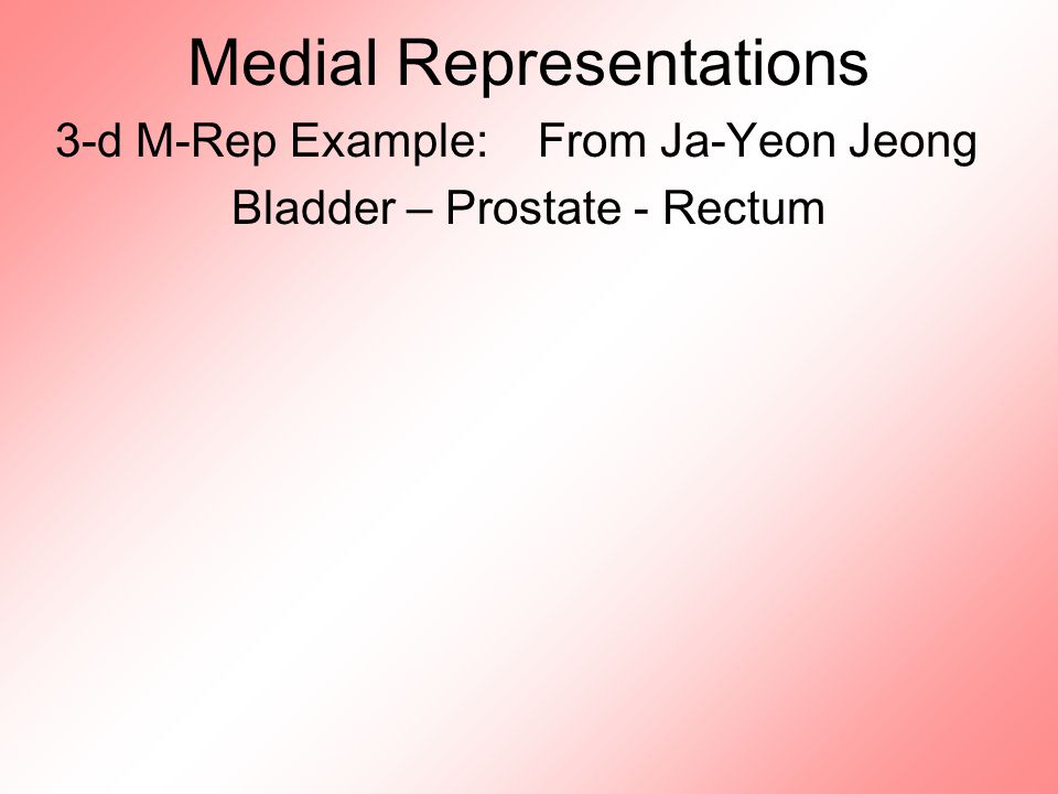 Medial Representations 3-d M-Rep Example: From Ja-Yeon Jeong Bladder – Prostate - Rectum