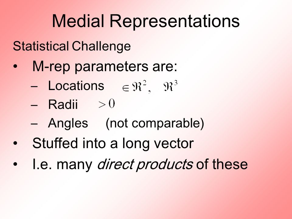 Medial Representations Statistical Challenge M-rep parameters are: –Locations –Radii –Angles (not comparable) Stuffed into a long vector I.e.