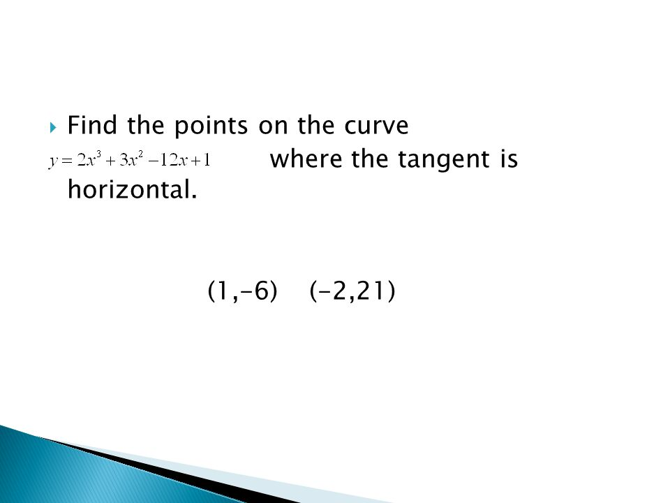  Find the points on the curve where the tangent is horizontal. (1,-6) (-2,21)