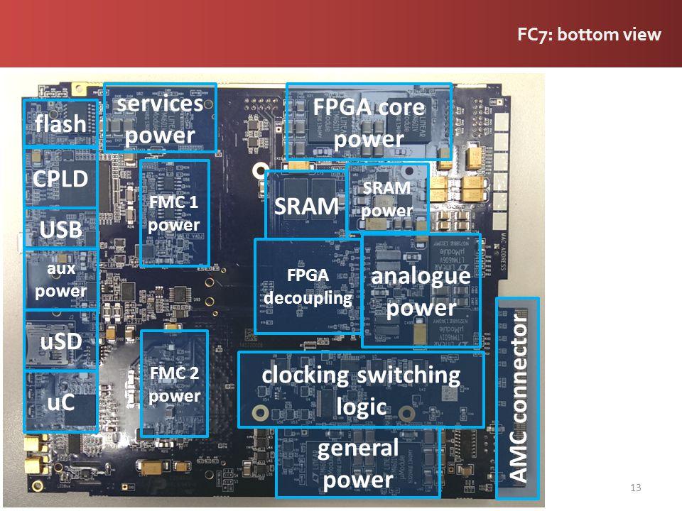FC7: bottom view 13 analogue power FPGA core power general power FPGA decoupling SRAM SRAM power services power CPLD flash FMC 1 power FMC 2 power uC