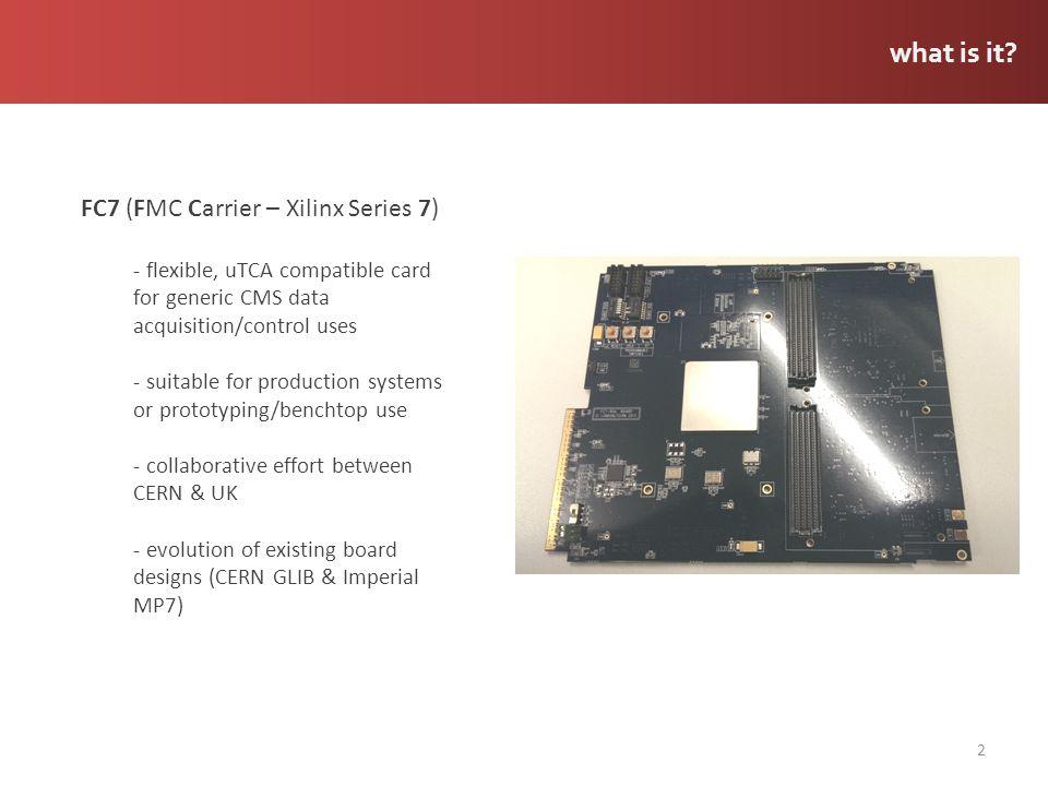 FC7: bottom view 13 analogue power FPGA core power general power FPGA decoupling SRAM SRAM power services power CPLD flash FMC 1 power FMC 2 power uC uSD aux power USB AMC connector clocking switching logic