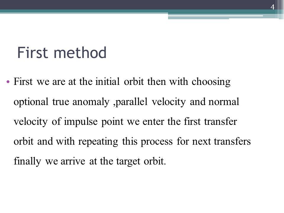 Pareto-optimal solution of tri-impulse transfer (First method) 35