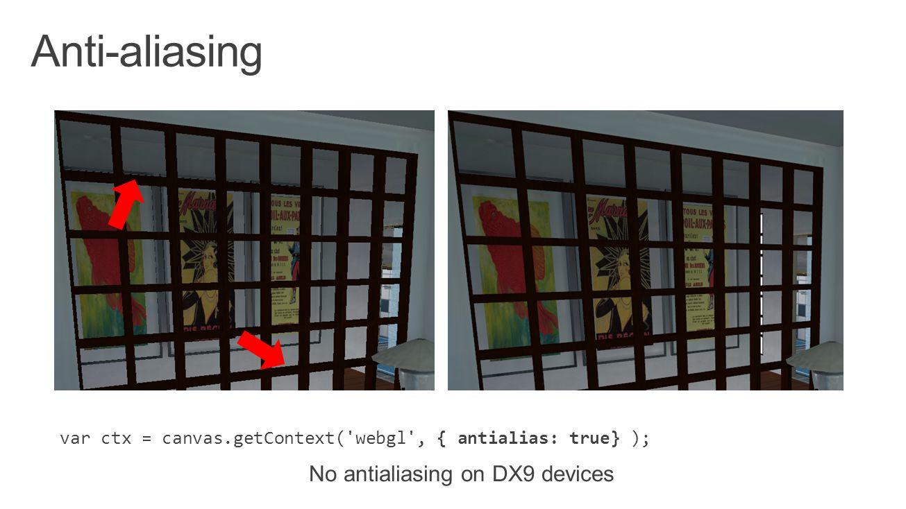 var ctx = canvas.getContext( webgl , { antialias: true} ); No antialiasing on DX9 devices