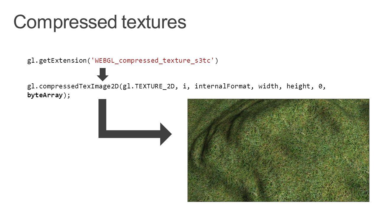gl.getExtension( WEBGL_compressed_texture_s3tc ) gl.compressedTexImage2D(gl.TEXTURE_2D, i, internalFormat, width, height, 0, byteArray);