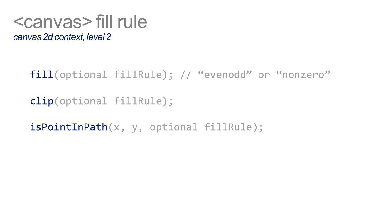 fill rule canvas 2d context, level 2 fill(optional fillRule); // evenodd or nonzero clip(optional fillRule); isPointInPath(x, y, optional fillRule);