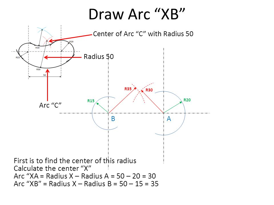 "Draw Arc ""XB"" First is to find the center of this radius Calculate the center ""X"" Arc ""XA = Radius X – Radius A = 50 – 20 = 30 Arc ""XB"" = Radius X – R"