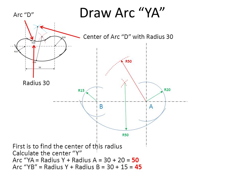 "Draw Arc ""YA"" R20 R15 Arc ""D"" Radius 30 Center of Arc ""D"" with Radius 30 R50 AB First is to find the center of this radius Calculate the center ""Y"" Ar"