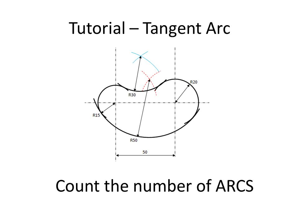 Draw Arc XB First is to find the center of this radius Calculate the center X Arc XA = Radius X – Radius A = 50 – 20 = 30 Arc XB = Radius X – Radius B = 50 – 15 = 35 R20 R15 Arc C Radius 50 Center of Arc C with Radius 50 R30 R35 AB