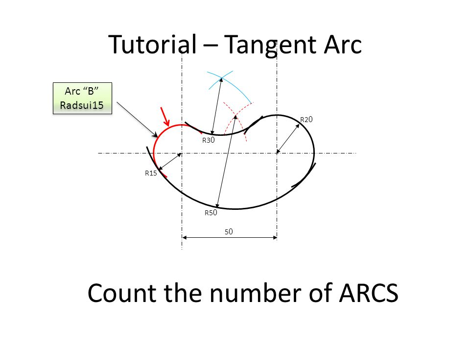 Tutorial – Tangent Arc Count the number of ARCS Arc C Radius 50 Arc C Radius 50 R2 0 R15 R5 0 R3 0 5050