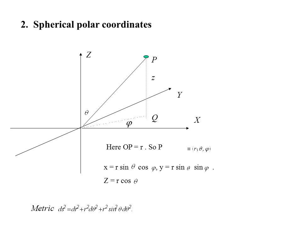 z Q P 2. Spherical polar coordinates Here OP = r.