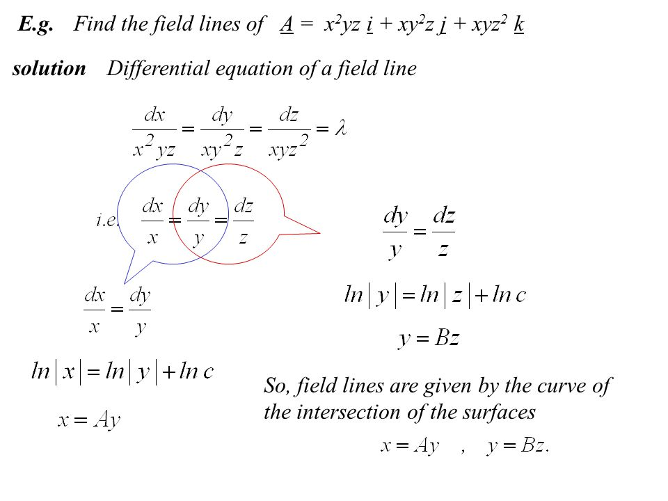 E.g.Find the field lines of A = x 2 yz i + xy 2 z j + xyz 2 k solutionDifferential equation of a field line So, field lines are given by the curve of the intersection of the surfaces