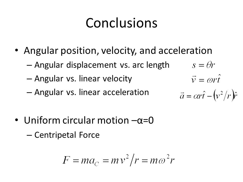 Conclusions Angular position, velocity, and acceleration – Angular displacement vs.