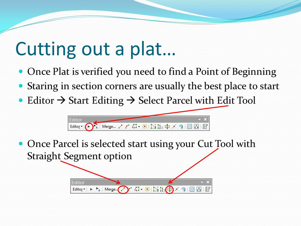 Cutting out a plat… Once Plat is verified you need to find a Point of Beginning Staring in section corners are usually the best place to start Editor