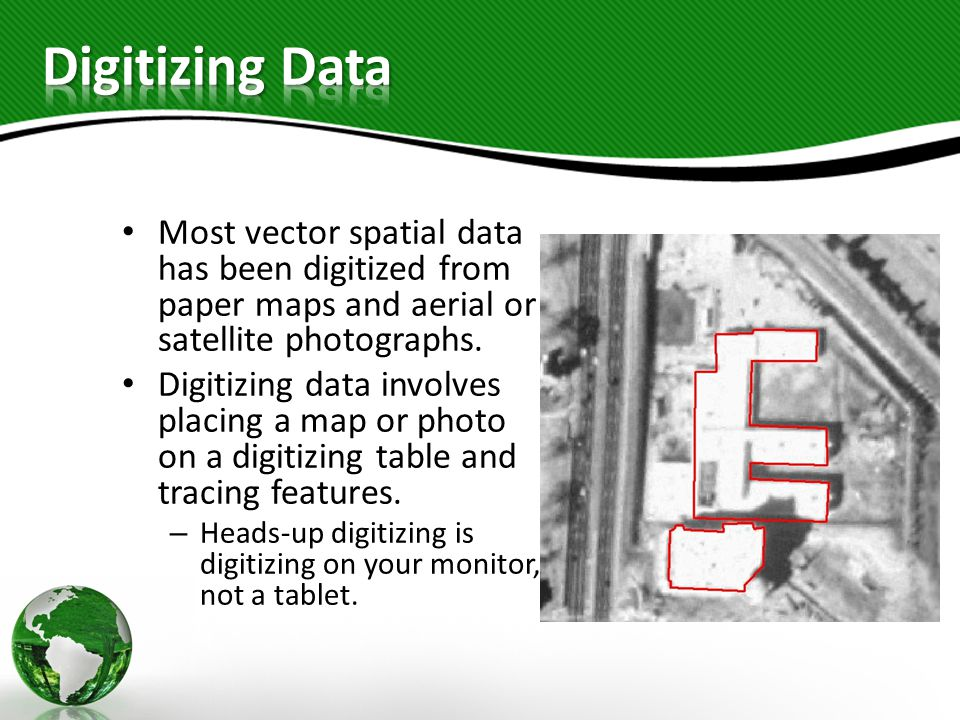 Most vector spatial data has been digitized from paper maps and aerial or satellite photographs.