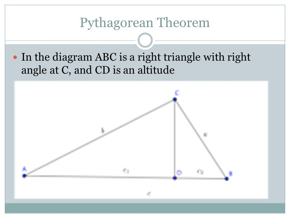 Pythagorean Theorem In the diagram ABC is a right triangle with right angle at C, and CD is an altitude