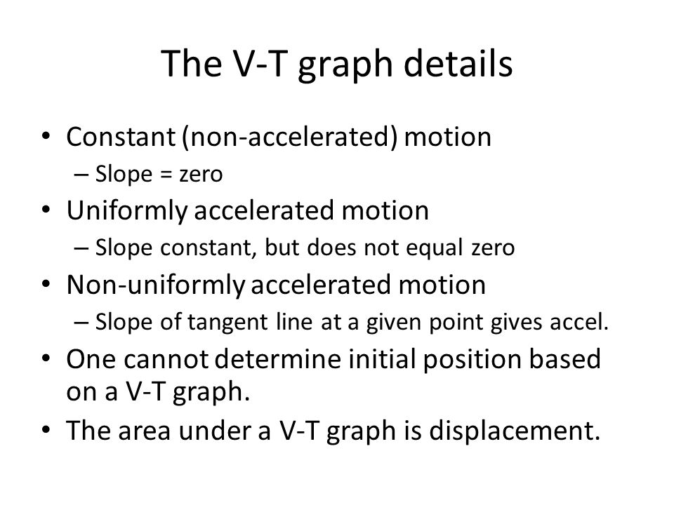 The V-T graph details Constant (non-accelerated) motion – Slope = zero Uniformly accelerated motion – Slope constant, but does not equal zero Non-unif